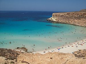 Beach oh Rabbit's Island in Lampedusa (Italy) ...