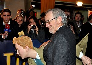 The Adventures of Tintin (film) - Steven Spielberg and a costumed character of Tintin at the film's premiere in Paris, 22 October 2011.