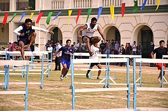 St. Xavier's College, Kolkata - A 110-meter hurdle race underway on Sports Day.