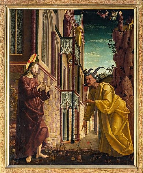 File:St. Wolfgang kath. Pfarrkirche Pacher-Altar Versuchung 01.jpg
