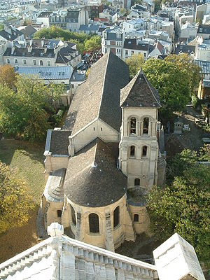 Montmartre - Saint-Pierre de Montmartre (originally 1133, much of it destroyed in 1790 and rebuilt in the 19th century) seen from the dome of the Basilica of the Sacré-Cœur
