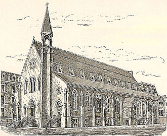 """J. William Schickel - The first Church of St. Vincent Ferrer, known as the """"Gothic barn"""""""