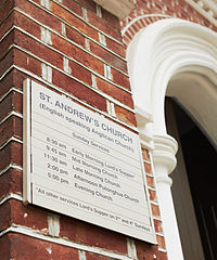 St Andrew's Church (Kowloon) Service times 2012.jpg