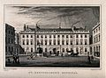 St Bartholomew's Hospital, London; the courtyard. Engraving. Wellcome V0012996.jpg