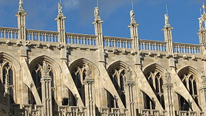 "St George's Chapel, Windsor Castle - The ""Beasts"" shown atop the pinnacles"