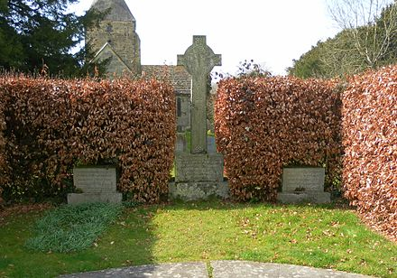 The Macmillan family graves in 2012 at St Giles' Church, Horsted Keynes. Macmillan's grave is on the right. St Giles' Church, Horsted Keynes (Macmillan Family Grave).JPG