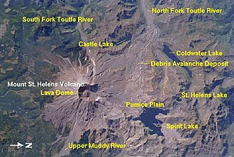 Mount St. Helens - A view of St. Helens and the nearby area from space