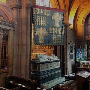 Duke of Westminster - St Mary's Church, Eccleston, Grosvenor Chapel: Cenotaph and Garter banner of Hugh Grosvenor, 1st Duke of Westminster