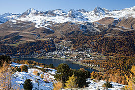 St. Moritz - View of St. Moritz and the surrounding mountains from the hiking trail to Muottas da Schlarigna (Celerina)