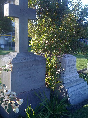 Guise Brittan - Gravestone of Guise Brittan (left) and William Guise Brittan Jr at St Paul's Anglican Church in Papanui