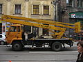 Star 1142-based cherry picker during Długa street reconstruction in Kraków (2).jpg