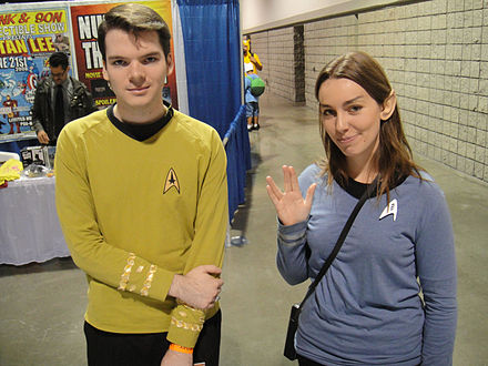 Fans at a science fiction convention dressed as characters from Star Trek Star Trek Federation Officers.jpg