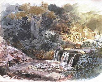 Steinlach - Steinlach on an old watercolour painting of Eduard von Kallee of approx. 1870