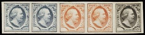 Stempelproef op proefpapier, postzegels Nederland 1852 Koning Willem III Nationaal Archief 44002 AP.jpg