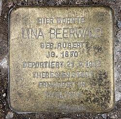 Photo of Lina Beerwald brass plaque