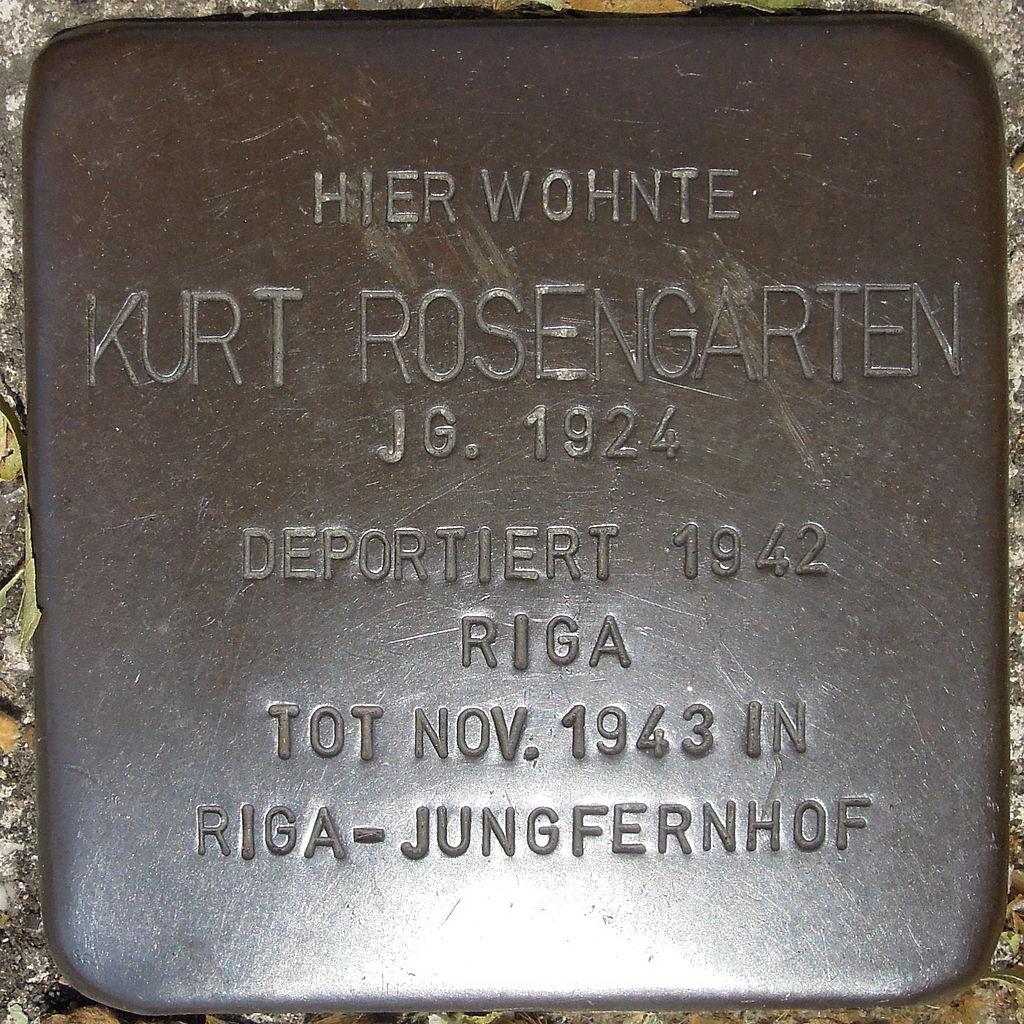 Stolperstein Gelsenkirchen Bismarkstraße 152 Kurt Rosengarten.JPG
