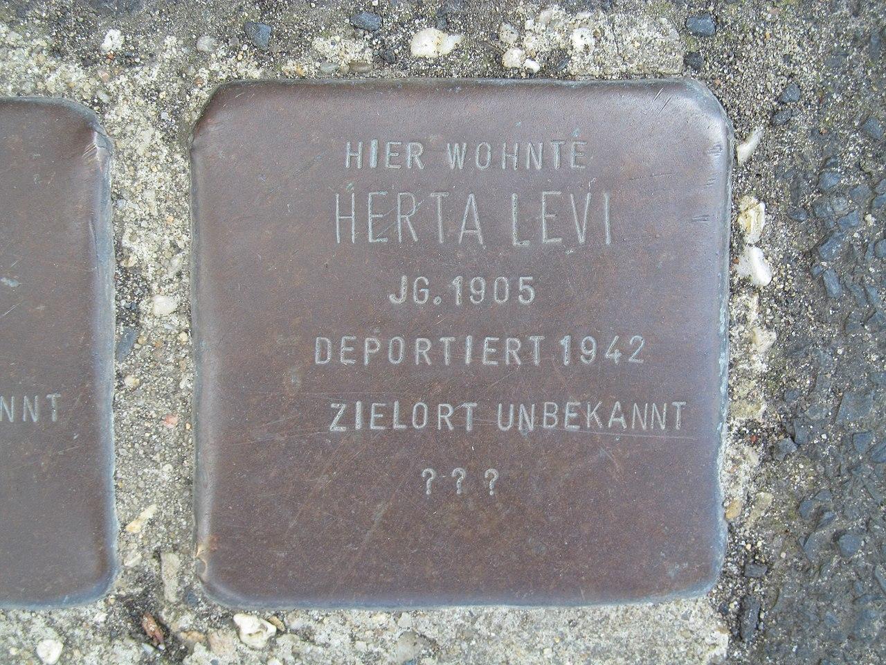 der Stolperstein für Levi Levi vor dem Haus Wiegelsweg 2 in der Friedrich-Ebert-Straße in Treysa