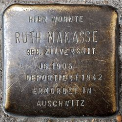 Photo of Ruth Manasse brass plaque