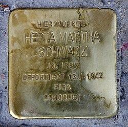Photo of Herta Martha Schwarz brass plaque