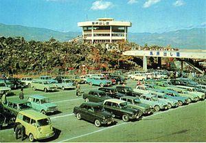 1964 in Japan - Parking lot in Japan circa 1964