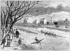 Student rowing race on the Fyris River 1879. Contemporary engraving