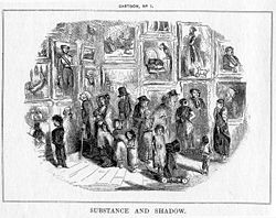 A detailed black-and-white illustration is vignetted in the center showing people of various sizes looking at pictures framed on the left and back walls.