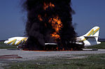 Sud SE-210 Caravelle III (F-BJTL) goes up in flames in an airport firefighting exercise at Zurich.jpg