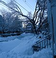 Summit New Jersey after several snowfalls walkways shoveled porch view in February.JPG