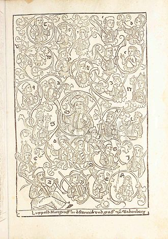 Ladislaus Sunthaym - Schematic family tree of the House of Babenberg in the 1491 printed edition