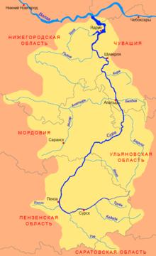 Куда течет река мокша схема