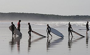 Surfers at Belhaven Bay (geograph 2508280).jpg
