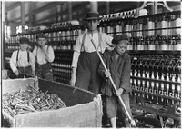 Sweeper and doffer boys in Lancaster Cotton Mills. Many more as small. Lancaster, S.C. - NARA - 523120.tif