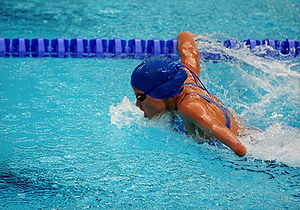 Summer Paralympic Games - A Paralympian in the women's butterfly at the 2008 Summer Paralympics