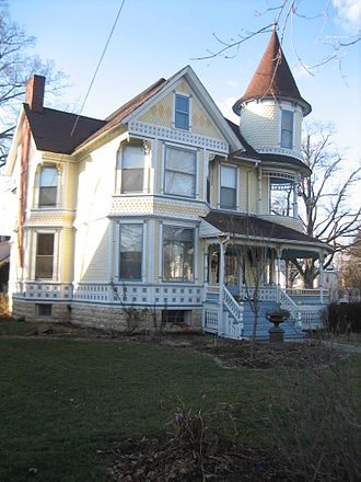 Sycamore Historic District - The 1890 Garbutt House, an example of Queen Anne style.