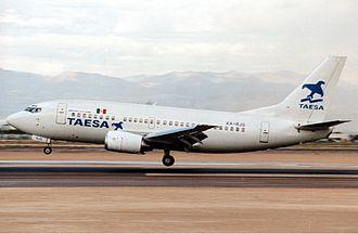 TAESA Lineas Aéreas - A former TAESA Boeing 737-500 at Las Vegas in 1992
