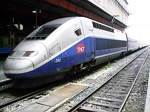 Power car - SNCF TGV Duplex power car at Gare de Marseille-Saint-Charles, France.