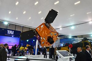Turkish Aerospace Industries - Model of reconnaissance and military satellite Göktürk-2 at the stand of TAI during the IDEF 2015
