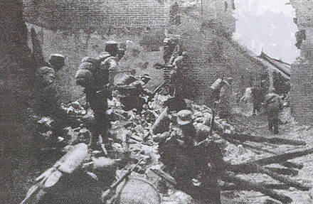 Chinese soldiers in house-to-house fighting in the Battle of Taierzhuang, March-April 1938 Taierzhuang.jpg