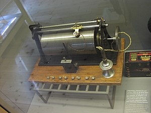 Tape recorder - Magnetic wire recorder, invented by Valdemar Poulsen, 1898. It is exhibited at Brede works Industrial Museum, Lyngby, Denmark.
