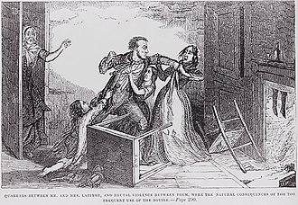 Western saloon - Temperance illustration of drunkard hitting his wife