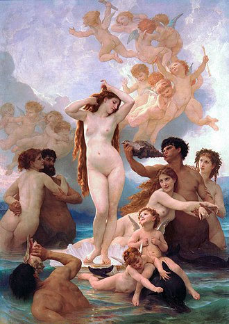 Cytherean - A common theme in art, The Birth of Venus is shown in this 1879 painting by William-Adolphe Bouguereau.