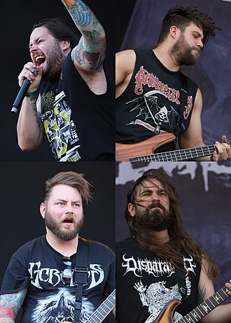 The Black Dahlia Murder (band) - The Black Dahlia Murder in 2014. Clockwise starting from top left: vocalist Trevor Strnad, bassist Max Lavelle, lead guitarist Ryan Knight and rhythm guitarist Brian Eschbach.