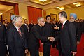 The Chinese Premier, Mr. Wen Jiabao with the Prime Minister, Dr. Manmohan Singh meeting Indian Officials, at a Welcome Ceremony in Great Hall of People, Beijing in China on January 14, 2008 (1).jpg