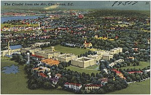 Campus of The Citadel, The Military College of South Carolina - A postcard view of The Citadel from about 1942.