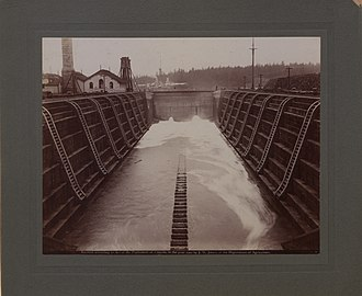 Esquimalt Royal Navy Dockyard - First Esquimalt Dry Dock, 1901, Photo: John Wallace Jones