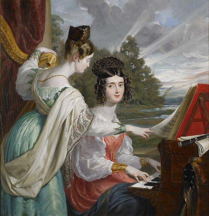 Достопочтенный.  Шарлотта Стюарт и достопочтенный.  Луиза Стюарт, 1830 год, Джордж Хейтер.jpg
