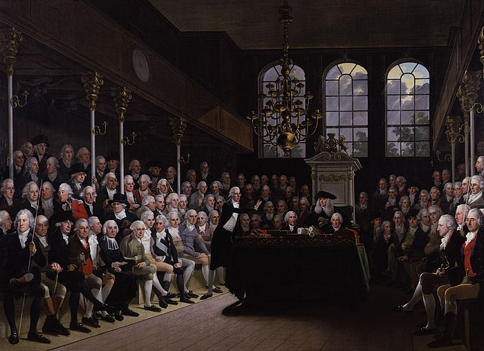 Pitt (standing centre) addressing the Commons on the outbreak of the war with France (1793); painting by Anton Hickel The House of Commons 1793-94 by Karl Anton Hickel.jpg