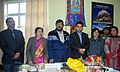 The Minister of State for Social Justice & Empowerment, Shri Ramdas Athawale attending a review meeting with the Minister of Social Justice, Sikkim, Smt. Tulsi Devi Rai, in Gangtok.jpg