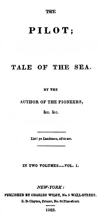 Nautical fiction - The original cover of Cooper's The Pilot, printed in 1823.