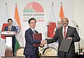 The Prime Minister, Shri Narendra Modi and the Prime Minister of Japan, Mr. Shinzo Abe witness the exchange of MoUsAgreements between India and Japan, at Mahatma Mandir, in Gandhinagar, Gujarat on September 14, 2017.jpg